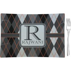 Modern Chic Argyle Rectangular Glass Appetizer / Dessert Plate - Single or Set (Personalized)