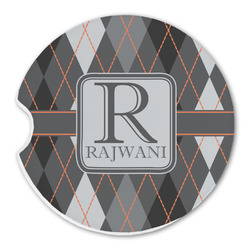 Modern Chic Argyle Sandstone Car Coaster - Single (Personalized)