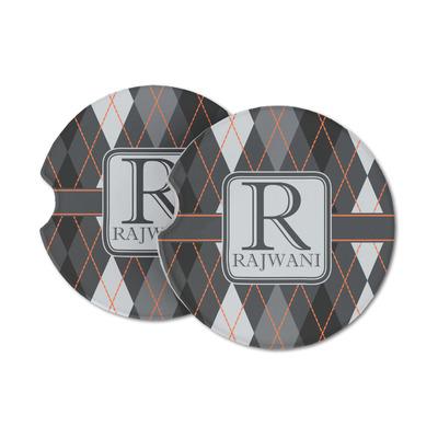 Modern Chic Argyle Sandstone Car Coasters (Personalized)