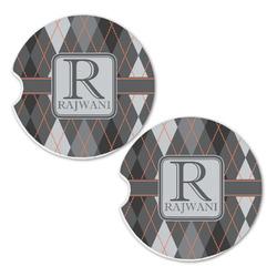Modern Chic Argyle Sandstone Car Coasters - Set of 2 (Personalized)