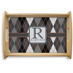 Modern Chic Argyle Natural Wooden Tray (Personalized)