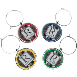 Modern Chic Argyle Wine Charms (Set of 4) (Personalized)