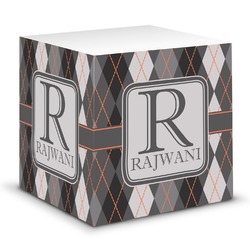 Modern Chic Argyle Sticky Note Cube (Personalized)