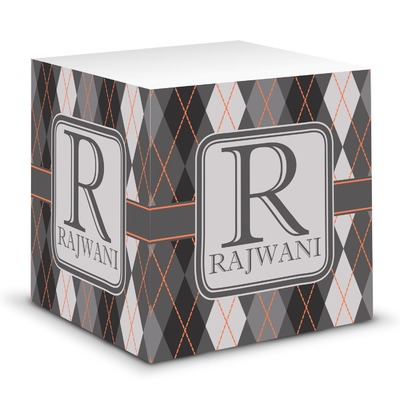 Modern Chic Argyle Sticky Note Cube (Personalized)