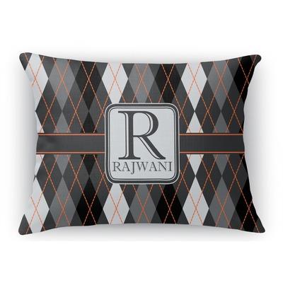Modern Initial Pillow : Modern Chic Argyle Rectangular Throw Pillow - 18