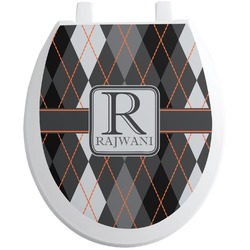 Modern Chic Argyle Toilet Seat Decal (Personalized)