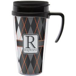 Modern Chic Argyle Travel Mug with Handle (Personalized)