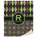 Argyle & Moroccan Mosaic Sherpa Throw Blanket (Personalized)