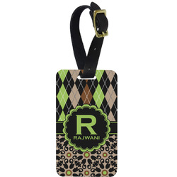Argyle & Moroccan Mosaic Aluminum Luggage Tag (Personalized)