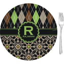 """Argyle & Moroccan Mosaic Glass Appetizer / Dessert Plate 8"""" (Personalized)"""