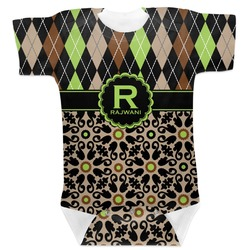 Argyle & Moroccan Mosaic Baby Bodysuit (Personalized)