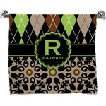 Argyle & Moroccan Mosaic Full Print Bath Towel (Personalized)