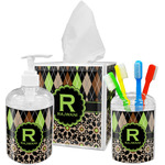 Argyle & Moroccan Mosaic Acrylic Bathroom Accessories Set w/ Name and Initial