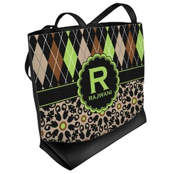Argyle & Moroccan Mosaic Beach Tote Bag (Personalized)
