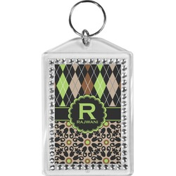 Argyle & Moroccan Mosaic Bling Keychain (Personalized)
