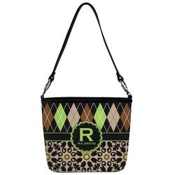 Argyle & Moroccan Mosaic Bucket Bag w/ Genuine Leather Trim (Personalized)