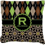 Argyle & Moroccan Mosaic Faux-Linen Throw Pillow (Personalized)