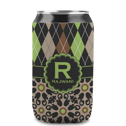 Argyle & Moroccan Mosaic Can Sleeve (12 oz) (Personalized)