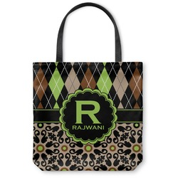 Argyle & Moroccan Mosaic Canvas Tote Bag (Personalized)