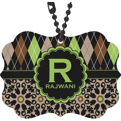 Argyle & Moroccan Mosaic Rear View Mirror Charm (Personalized)