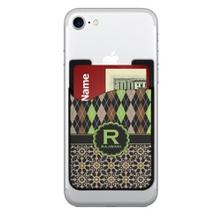 Argyle & Moroccan Mosaic 2-in-1 Cell Phone Credit Card Holder & Screen Cleaner (Personalized)