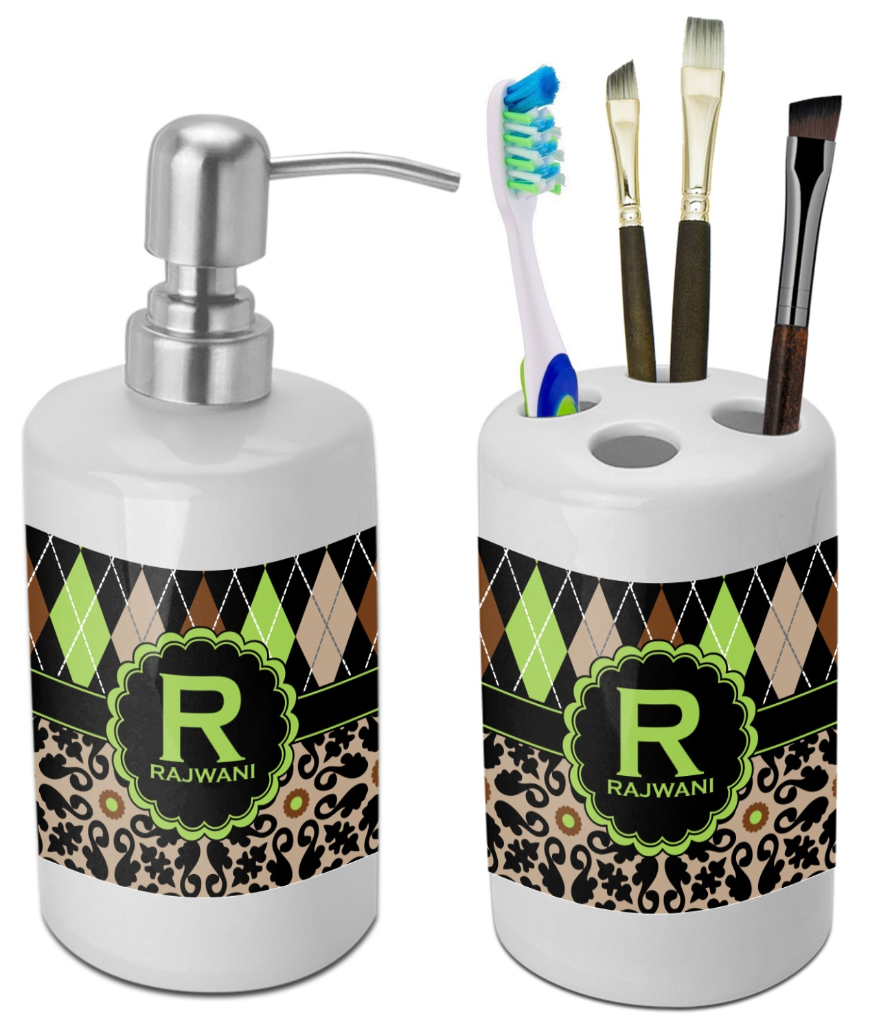 Argyle Moroccan Mosaic Bathroom Accessories Set Ceramic Personalized