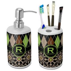 Argyle & Moroccan Mosaic Ceramic Bathroom Accessories Set (Personalized)