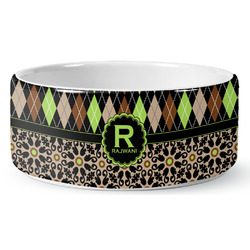 Argyle & Moroccan Mosaic Ceramic Pet Bowl (Personalized)