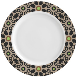 Argyle & Moroccan Mosaic Ceramic Dinner Plates (Set of 4) (Personalized)