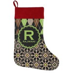 Argyle & Moroccan Mosaic Holiday Stocking w/ Name and Initial
