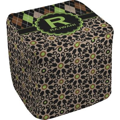 Argyle & Moroccan Mosaic Cube Pouf Ottoman (Personalized)