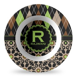 Argyle & Moroccan Mosaic Plastic Bowl - Microwave Safe - Composite Polymer (Personalized)
