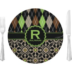 "Argyle & Moroccan Mosaic Glass Lunch / Dinner Plates 10"" - Single or Set (Personalized)"