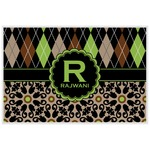 Argyle & Moroccan Mosaic Laminated Placemat w/ Name and Initial