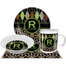 Argyle & Moroccan Mosaic Dinner Set - 4 Pc (Personalized)