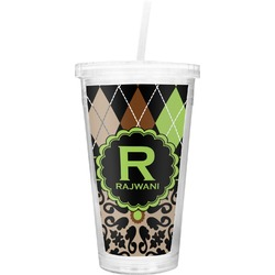 Argyle & Moroccan Mosaic Double Wall Tumbler with Straw (Personalized)