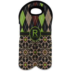 Argyle & Moroccan Mosaic Wine Tote Bag (2 Bottles) (Personalized)