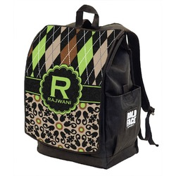 Argyle & Moroccan Mosaic Backpack w/ Front Flap  (Personalized)