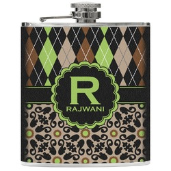Argyle & Moroccan Mosaic Genuine Leather Flask (Personalized)