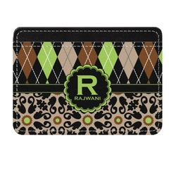 Argyle & Moroccan Mosaic Genuine Leather Front Pocket Wallet (Personalized)
