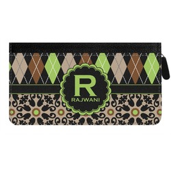 Argyle & Moroccan Mosaic Genuine Leather Ladies Zippered Wallet (Personalized)