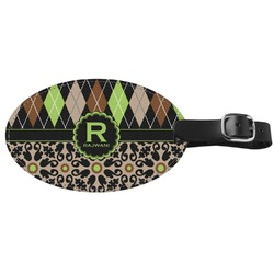 Argyle & Moroccan Mosaic Genuine Leather Oval Luggage Tag (Personalized)
