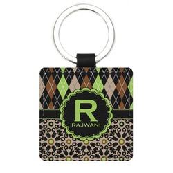 Argyle & Moroccan Mosaic Genuine Leather Rectangular Keychain (Personalized)