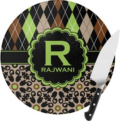 Argyle & Moroccan Mosaic Round Glass Cutting Board (Personalized)