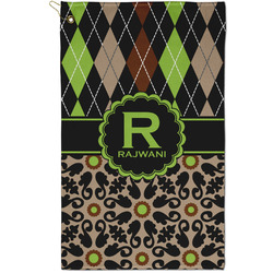 Argyle & Moroccan Mosaic Golf Towel - Full Print - Small w/ Name and Initial