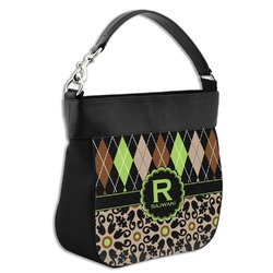 Argyle & Moroccan Mosaic Hobo Purse w/ Genuine Leather Trim (Personalized)