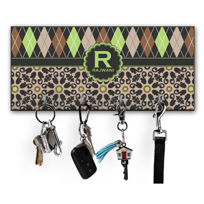 Argyle & Moroccan Mosaic Key Hanger w/ 4 Hooks w/ Name and Initial