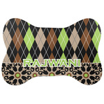 Argyle & Moroccan Mosaic Bone Shaped Dog Food Mat (Personalized)