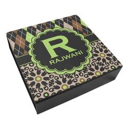 Argyle & Moroccan Mosaic Leatherette Keepsake Box - 3 Sizes (Personalized)