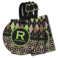 Argyle & Moroccan Mosaic Plastic Luggage Tags (Personalized)